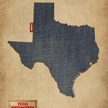 Texas Map Denim Jeans Style by ArtPrints