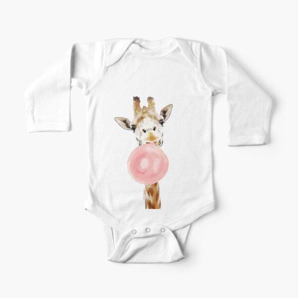 Pink Bubblegum Giraffe  Long Sleeve Baby One-Piece