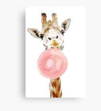 Pink Bubblegum Giraffe  Metal Print