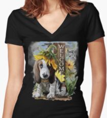 Cute puppy looking for friend Women's Fitted V-Neck T-Shirt