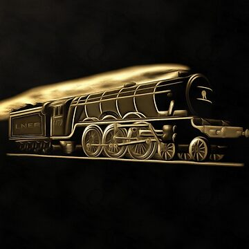 A sepia digital painting of The Flying Scotsman on black 1923 by ZipaC