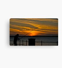 Fishing at Sunset Canvas Print