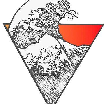 La etiqueta engomada de surf de la gran ola naranja de sangre de Claireandrewss
