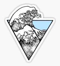 The Great Wave Surf Sticker Light Blue Sticker