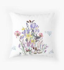 Irises and Wild Flowers Throw Pillow