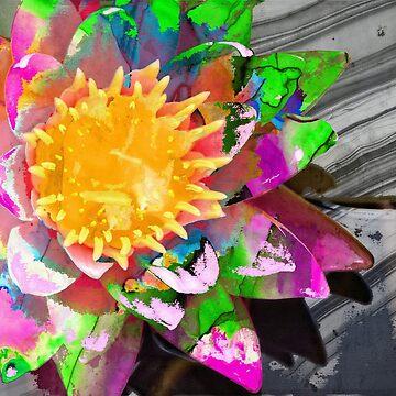Abstract Floral Art - Wild Lotus Flower - Sharon Cummings Artist by SharonCummings