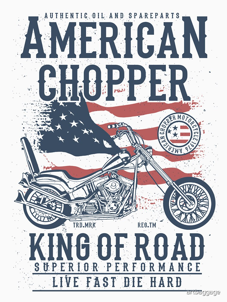 American Chopper King of Road Biker T-shirt by artbaggage