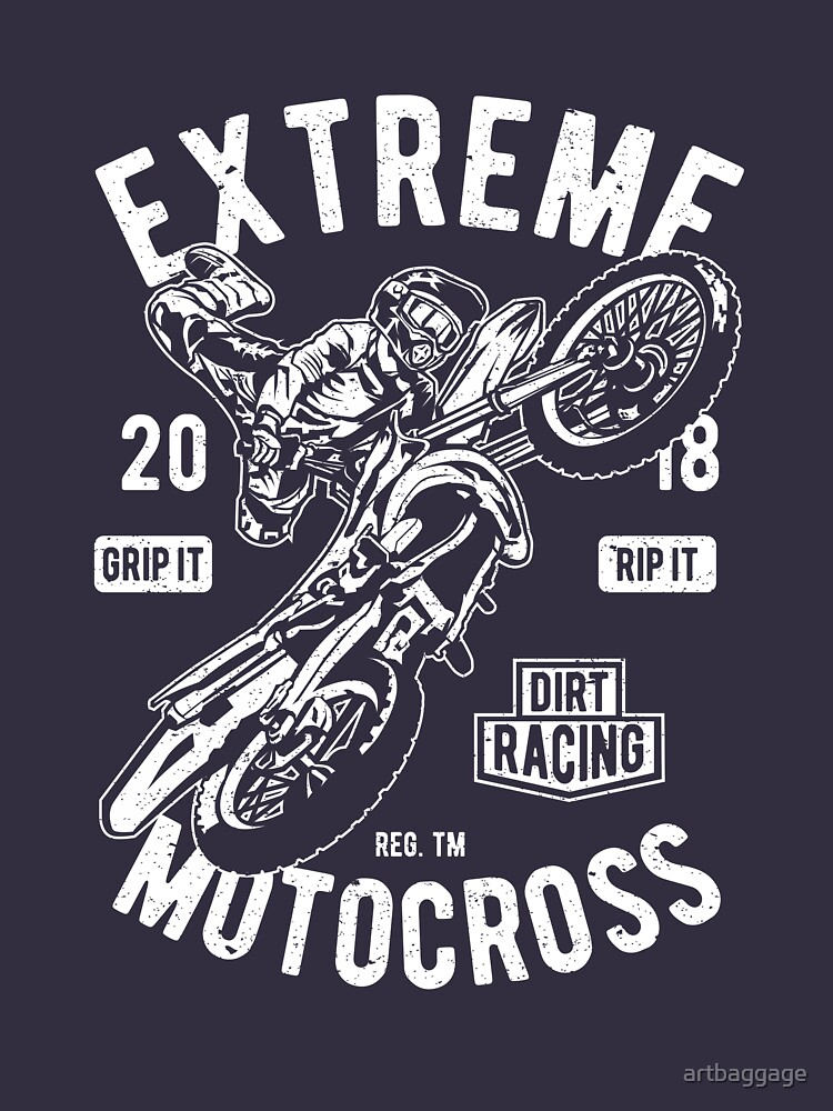 Extreme Motocross Motorcycle Vintage T-shirt by artbaggage
