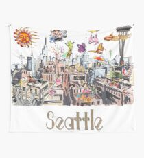 POP ART Crazy City of Seattle  Wall Tapestry
