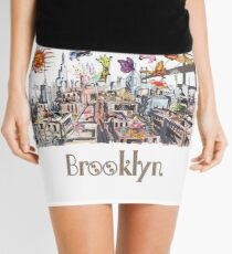 Surreal Pop Art Busy City of Brooklyn Mini Skirt