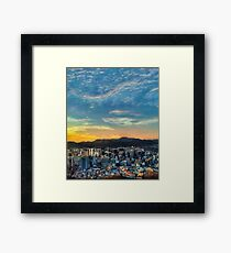 High View of Seoul During Sunset Framed Print
