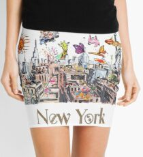 Pop Art New York City Surreal City Life  Mini Skirt
