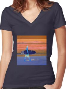 Surfer Tee Shirt  Women's Fitted V-Neck T-Shirt