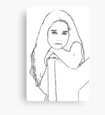 Line Drawing of a Girls Face Canvas Print