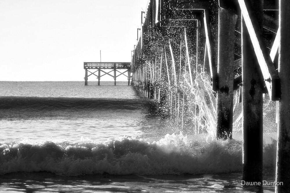 Crashing Waves At Pier B&W by Dawne Dunton