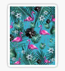 Tropical Flamingo Flower Jungle #1 #tropical #decor #art  Sticker