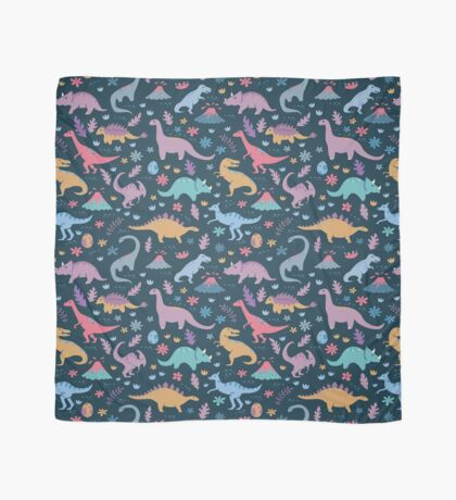 Dinosaur Pattern with Flowers and Volcanoes  Scarf