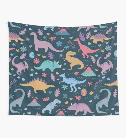 Dinosaur Pattern with Flowers and Volcanoes  Wall Tapestry