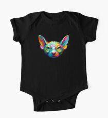 Sphynx Katzen-buntes Porträt Baby Body Kurzarm