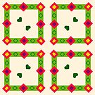 flat design green floral romantic friendship peace love seamless colorful repeat pattern by Abrahamjrnd