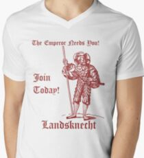 The Emperor Needs YOU! Join the Landsknects today! (Solid red design) Men's V-Neck T-Shirt