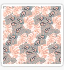 pattern with shells in coral red color Sticker