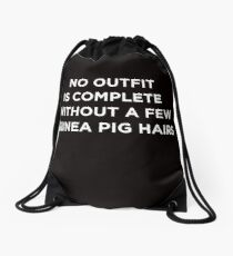 Funny Animal Guinea Pig Tshirt Design No outfit is complete Drawstring Bag