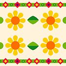 flat design nature love pattern yellow flowers green seamless colorful repeat by Abrahamjrnd