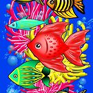 Fish Cute Colorful Doodles  by BluedarkArt