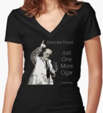Just One More Cigar: Detective Freud Women's Fitted V-Neck T-Shirt