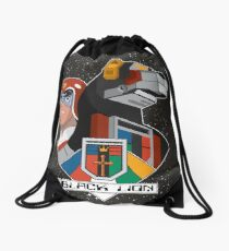Black Lion and Pilot Drawstring Bag