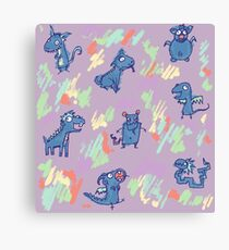 Little Monster Friends in Light Purple and Blue Canvas Print