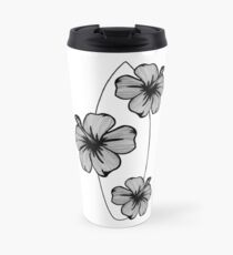 Black and White Tropical Hibiscus Flower and Surfboard Travel Mug