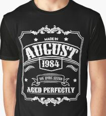Born In August 1984 - 34th Birthday Gift Graphic T-Shirt