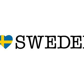 I Love Sweden, sweden t-shirt, sweden sticker by Alma-Studio