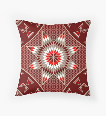 Morning Star with Tipi's (Red) Throw Pillow