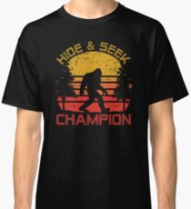 Bigfoot Hide and Seek Champion Distressed Graphic Classic T-Shirt