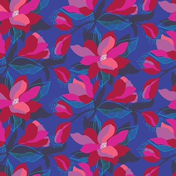 Night time floral with royal blue base by Pattern-Design