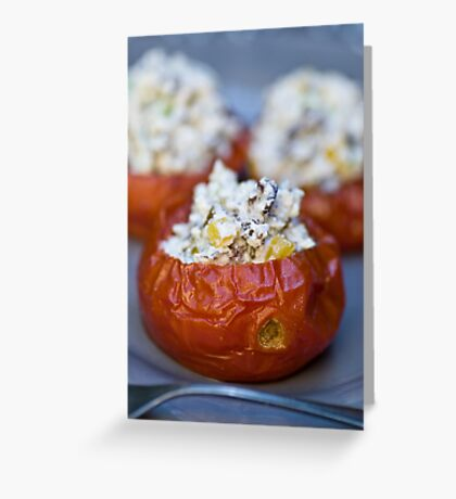 Baked Tomatoes With Mediterranean Ricotta Filling Greeting Card