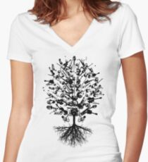 Musical Instruments Tree Women's Fitted V-Neck T-Shirt