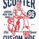 Vintage Scooter Custom Ride T-shirt by artbaggage