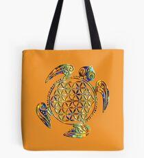 Flower Of Life - Sea Turtle - Green Blue Orange Tote Bag