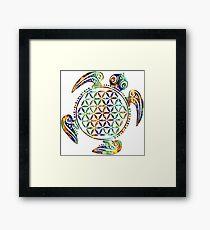 Flower Of Life - Sea Turtle - Green Blue Orange Framed Print