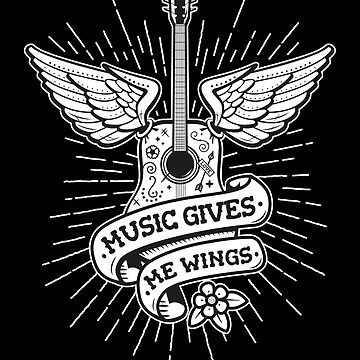 Music Gives Me Wings - Old School Tattoo Guitar by propellerhead