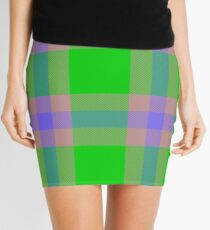 Custom medium slate blue Tartan design Mini Skirt