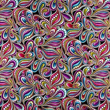 Flora Damask Petals in Pastel Metallic Illustration by Yapsalot