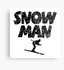 Snowman Ski Skier Skiing Metal Print