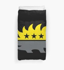 ancap libertarian porcupine black and yellow anarcho capitalist symbol on black background HD HIGH QUALITY Duvet Cover
