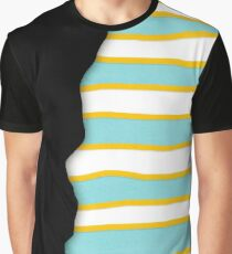Unusual Desigual Black Lines Yellow and Turquoise Graphic T-Shirt