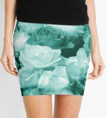 Bowl of Teal Roses Mini Skirt